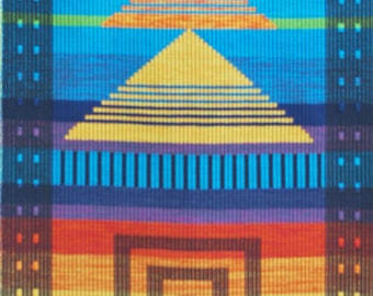 Cotton, hand loom, handwoven, large Tapestry/wall hanger, abstract wall art, handwoven,modern art, yellow/orange/blue,fabric wall decor,