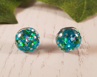Blue Button Stud Earring - Hypo-Allergenic Surgical Steel