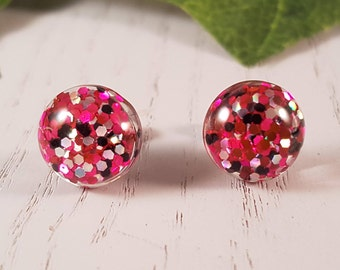 Pink Button Stud Earrings Surgical Steel