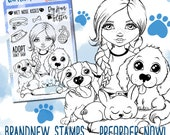 """Clear Stamp Set """"Wet Nose Kisses"""" Dogs - perfect to use in your Planners, Happymail, Cardmaking, Pocketletters etc. whimsical Illustration"""