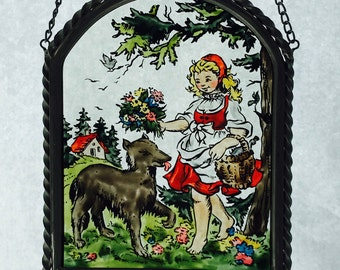 Vintage Hand Painted Glass Suncatcher Sun Catcher Little Red Riding Hood Fairy Tale