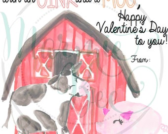 Oink and Moo Happy Valentines Card PRINTABLE