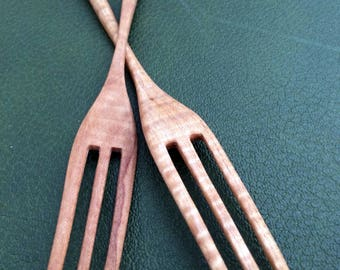 Hand carved & crafted, solid maple, wooden fork