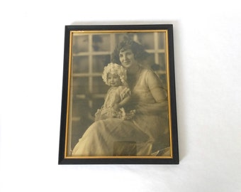 Antique Black & White Photograph Mother and Child. Black and White Photo