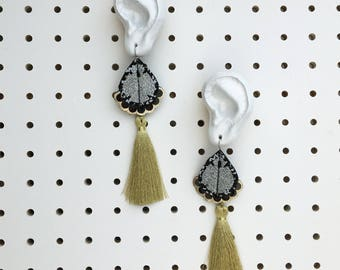 Gold, silver and black STATEMENT TASSEL EARRINGS. Super light weight earrings, cut from recycled fabric and stitched by hand.