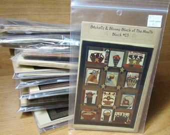 Quilt Blocks of the Month Set of 12 Joined at the Hip Baskets & Blooms w/ Fabric