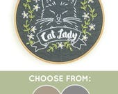 DIY Embroidery Kit, Modern Embroidery Kit, Hand Embroidery Kit, DIY Embroidery, Cat Lady Embroidery Pattern, Cat Lady, Gift for Cat Lover