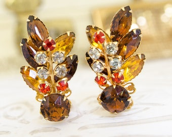 Vintage Amber and Rootbeer Rhinestone Earrings - 1950s Beau Jewels Climbers - Mad Men Gift For Her - Gold Earrings For Autumn Wedding