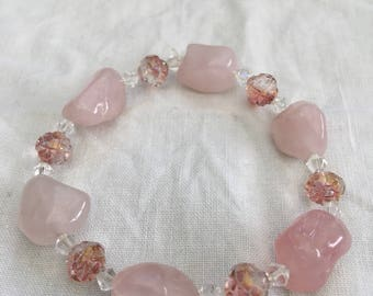 Rose quartz and pink crystal bracelet