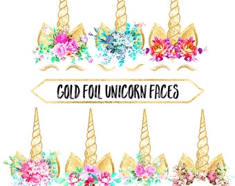 Unicorn Clipart: gold foil, unicorn face, rainbow, flowers, fairy tale, birthday, baby shower, wedding, scrapbook, planner stickers
