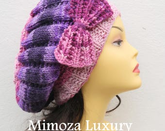 Purple/Pink Woman Hand Knitted Hat with Bow, Beret hat with bow, Purple knit hat, purple slouchy knit women's hat with bow, purple winter