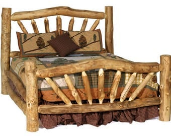 Aspen Storm Mountain Bed, Rustic Log Bed, Aspen Log Bed, Reclaimed Wood Bed,