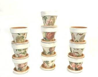 SET OF 10 - Terra Cotta Pots - French Country Flower Pots - Wedding Decor - Bridal Shower Decor - Wedding Favors - Fall Wedding Decor - Pots