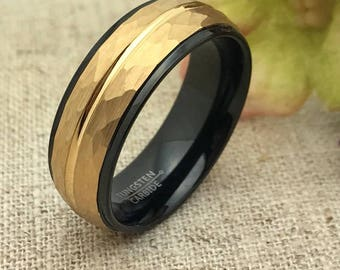 8mm Tungsten Wedding Ring, Personalize Two Tone Sand Blasted Finish Tungsten Wedding Ring, Unisex Wedding Ring, Free Engraving TCR252