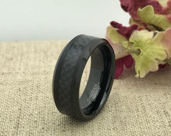 8mm Tungsten Wedding Ring, Personalized Carbon Fiber Inlay Wedding Band, Grooms Ring, Father's Day Gift