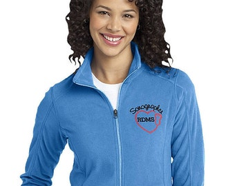 Women's Sonographer or Ultrasound Tech fleece jacket with Credentials- Customizable Jacket with Colors and Font options