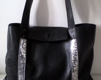 """Louise"" black leather tote bag"