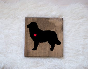 Hand Painted Bernese Mountain Dog Silhouette on Stained Wood, Dog Decor, Dog Painting, Gift for Dog People, New Puppy Gift