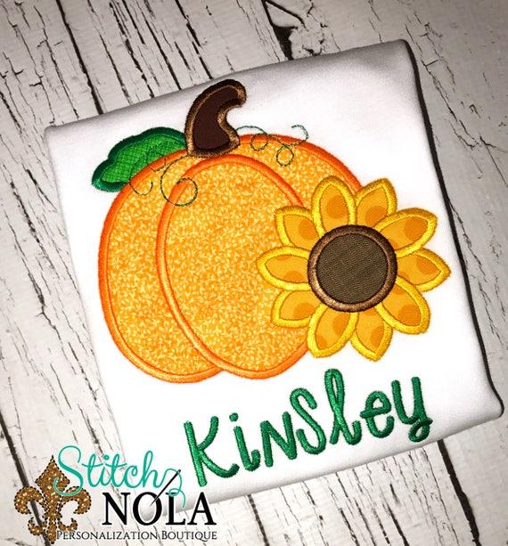 Sunflower Pumpkin Applique, Pumpkin Applique, Fall Applique, Thanksgiving Pumpkin, Girls Pumpkin Applique, Pumpkin with Flowers Shirt