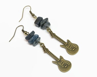 Blue Guitar Earrings, Boho Electric Guitar Earrings, Lapis Gemstone Earrings, Rock Music Earrings, Music Instrumemt Earrings