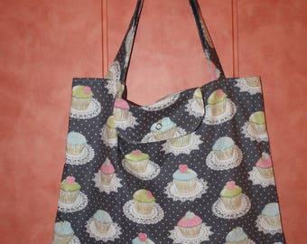 "Shopping bag foldable ""cupcakes"" theme fabric"