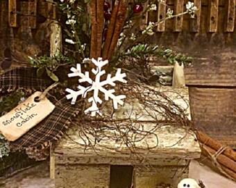 "Primitive Winter Log Cabin Handmade Antique Wood Lath Unique Winter ""Snowflake Cabin"" Miniature Cabin Decoration"