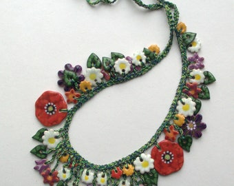 "Ceramic jewelry, Artistic jewelry, Jewelry necklace, Flower necklace, Necklace with ceramic flowers, Necklace with floral motifs ""Poppies"""
