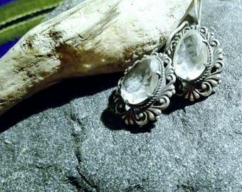 Natural crystal earings Boho crystal earings Victorian crystal silver earings