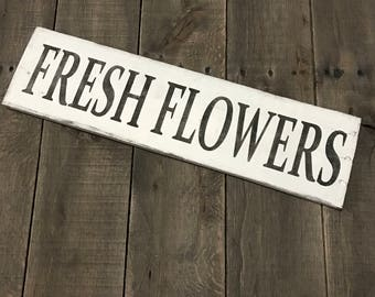 Fresh Flowers sign, Garden  sign, spring signs, Garden Decor, Easter sign, spring decor, Spring sign on reclaimed wood,
