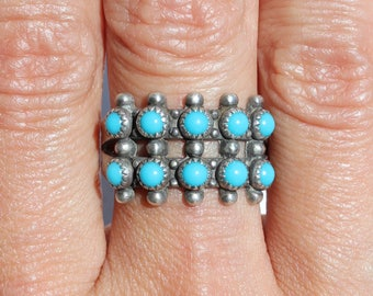 Zuni Petit Point Ring/ Native American Jewelry/ Boho Jewelry/ Double Row Ring/ Turquoise Band Ring/ Snake Eyes Turquoise Ring