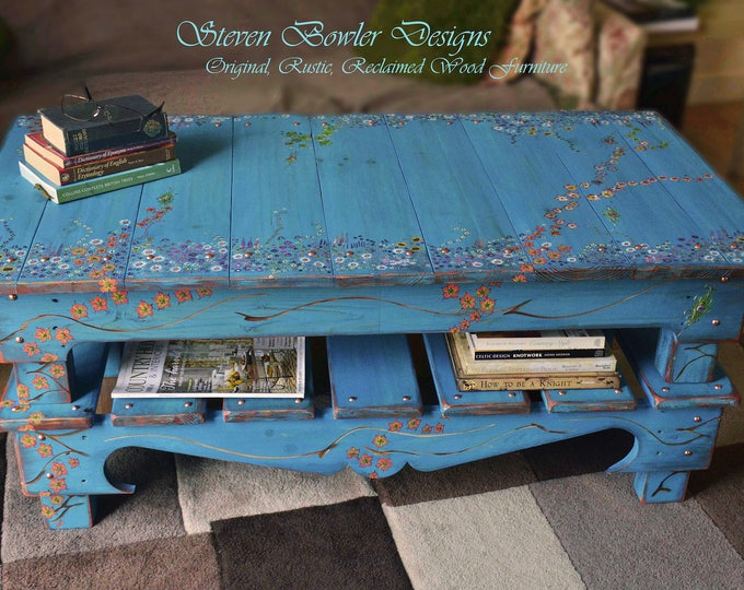 Large Rustic Reclaimed Wood Coffee Table Handpainted Cottage Garden Flower Design Decorative Tacks & Undershelf Storage Handcrafted to Order