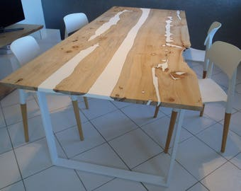 live edge dining table reclaimed solid slab acacia wood. Black Bedroom Furniture Sets. Home Design Ideas