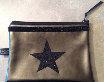 Gray faux leather clutch, black star glitter