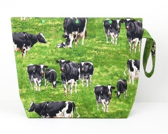 Big cows knitting project bag, sweater knitting bag with snaps, 6 skein bag for crochet or yarn crafts, storage