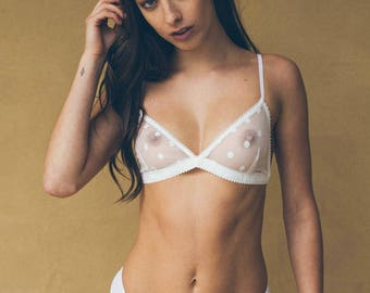 Spotted French Lace Bralette Black & White