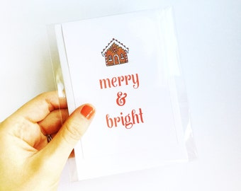 Merry & Bright | Blank Note Card | Greeting Card | Snail Mail