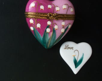 Rochard Limoges  (France) Peint Main Porcelain Hinged Pink Heart-Shaped Trinket Box with Lily of the Valley Design and Separate Heart Inside
