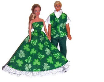 His/Hers Doll Clothes-Green ShamrockParty Dress & Matching Vest,White Shirt and Green Pants