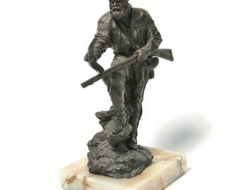 Herb Mignery Duck Hunter Bronze Sculpture on Marble Base - American West Cowboy