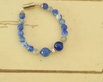 Natural blue agate with handblown glass bubbles and sterling silver