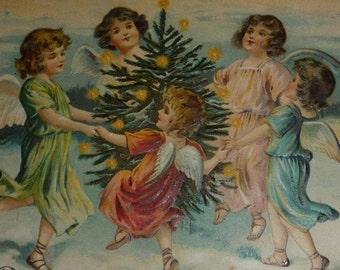 Five Pretty Angels Dancing Around A Christmas Tree Antique Postcard