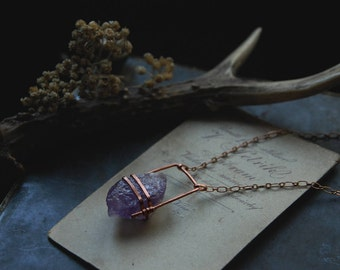 mirthe • raw amethyst necklace - crystal copper necklace - witch jewelry - raw crystal necklace - purple amethyst jewelry - long necklace