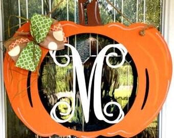 Monogram pumpkin door hanger, monogram door hanger, fall door hanger, pumpkin door hanger, fall, halloween, personalized fall wreath