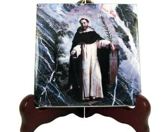 Saint Dominic - catholic icon on ceramic tile - Santo Domingo de Guzmán - catholic gift - dominican order, gift for friars, St Dominic icon