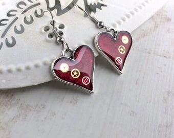 Dark Red Earrings. Red Heart Earrings. Silver Heart Earrings. Steampunk Heart Earrings. Modern Jewellery. Sterling Silver Earrings