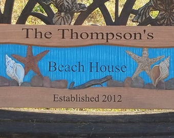 Personalized Beach house sign custom nautical decor shore house decor beach house decor beach Cottage decor personalized address sign gift
