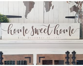 Home sweet Home sign, Established date sign, Custom wood sign, Wedding gift, Housewarming gift, Wedding date sign, Mantle decor