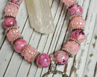 Beaded Key Chain, Bracelet Keychain, Beaded Keychain Bracelet