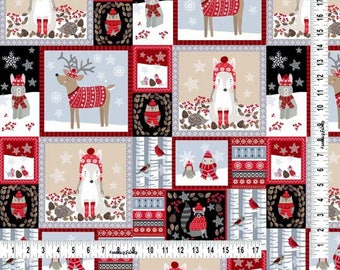 Winter Woodland Animal Fabric, Cheater Fabric, Studio E Fabric, Snow Delightful 3853 93, Woodland Christmas Quilt Fabric, Cotton