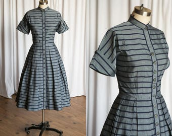 Nary A Wish dress | vintage 50s dress | striped cotton 1950s dress | fit and flare | navy blue grey striped 50s dress | R&K Originals